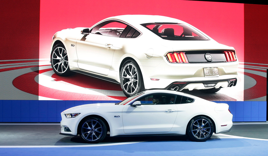 . The 2015 Ford Mustang 50 Year Limited Edition is introduced at the 2014 New York International Auto Show at the Javits Convention Center, Wednesday, April 16, 2014, in New York. (AP Photo/Richard Drew)