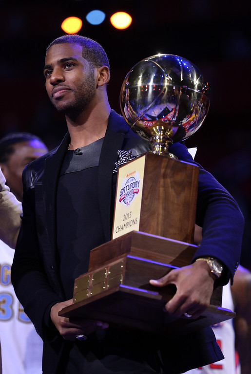 Description of . HOUSTON, TX - FEBRUARY 16:  Chris Paul of the Los Angeles Clippers and captain of the West team celebrates after the West wins All-Star Saturday Night during the 2013 NBA All-Star Weekend at the Toyota Center on February 16, 2013 in Houston, Texas.  (Photo by Ronald Martinez/Getty Images)