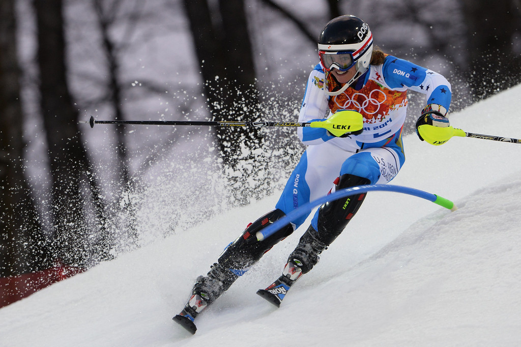 Description of . Virgin Island's Jasmine Campbell competes during the Women's Alpine Skiing Slalom Run 1 at the Rosa Khutor Alpine Center during the Sochi Winter Olympics on February 21, 2014.          AFP PHOTO / DIMITAR DILKOFF/AFP/Getty Images