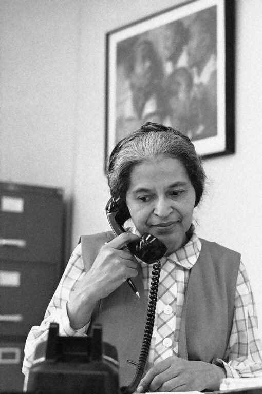 Description of . Rosa Parks, who once refused to move to the back of a bus in Montgomery, Alabama, now works on the staff of U.S. Congressman John Conyers, Jr., of the first district Michigan in Detroit, May 28, 1971. (AP Photo/Jim McKnight)