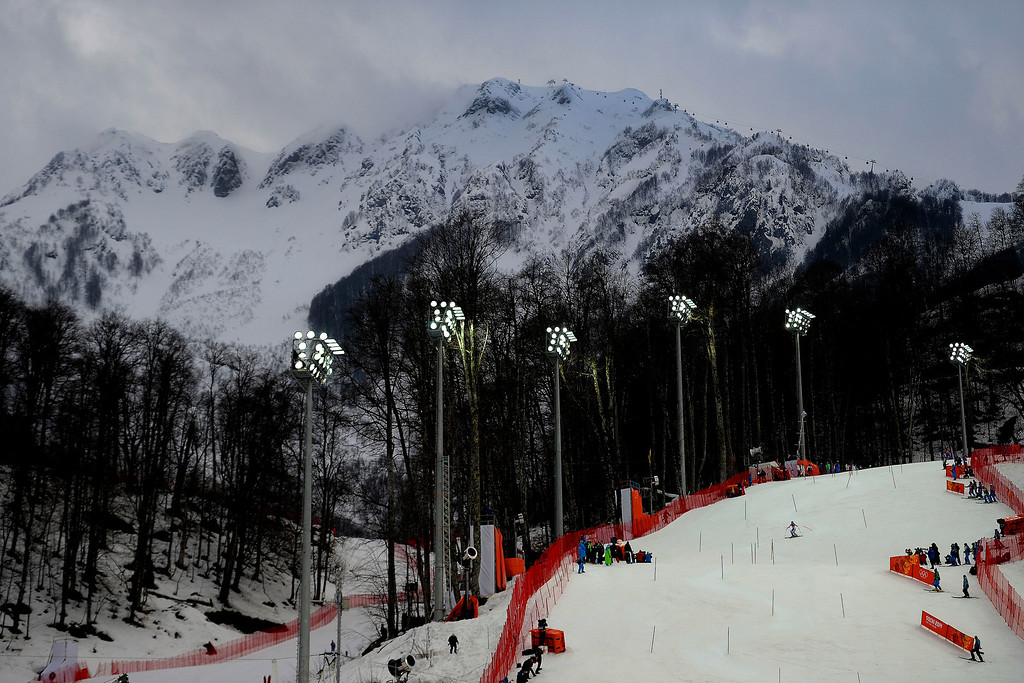 Description of . During ladies' slalom run 1. Sochi 2014 Winter Olympics on Friday, February 21, 2014 at Rosa Khutor Alpine Center. (Photo by AAron Ontiveroz/ The Denver Post)
