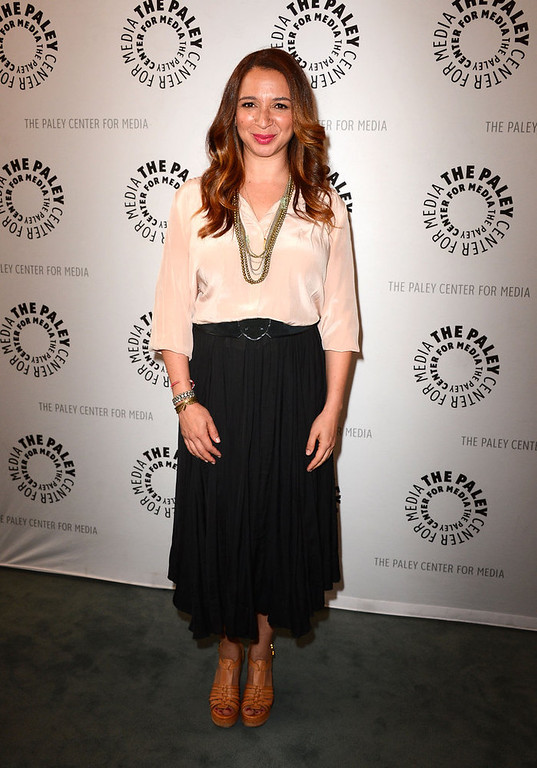 "Description of . Actress Maya Rudolph arrives at The Paley Center For Media presents an evening with ""Up All Night\"" at The Paley Center for Media on May 8, 2012 in Beverly Hills, California.  (Photo by Frazer Harrison/Getty Images)"