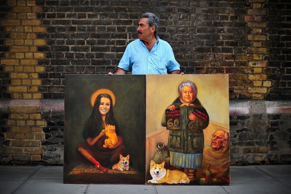 Description of . Artist Kaya Mar poses with paintings of Britain\'s Queen Elizabeth II (R) and Catherine (L), Duchess of Cambridge, outside the Lindo Wing of Saint Mary\'s Hospital in London, on July 12, 2013, where Prince William and his wife Catherine\'s baby will be born. Britain\'s royal family and the world\'s media are on tenterhooks awaiting the birth of Prince William and wife Catherine\'s first child, a baby who will one day be king or queen of Britain and a diverse group of commonwealth countries.  CARL COURT/AFP/Getty Images
