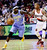 Denver Nuggets guard Ty Lawson (3) drives inside against Portland Trail Blazers guard Damian Lillard during the first quarter of an NBA basketball game in Portland, Ore., Wednesday, Feb. 27, 2013. (AP Photo/Don Ryan)