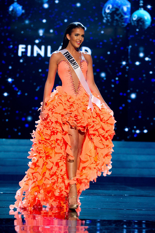Description of . Miss Finland 2012 Sara Chafak competes in an evening gown of her choice during the Evening Gown Competition of the 2012 Miss Universe Presentation Show in Las Vegas, Nevada, December 13, 2012. The Miss Universe 2012 pageant will be held on December 19 at the Planet Hollywood Resort and Casino in Las Vegas. REUTERS/Darren Decker/Miss Universe Organization L.P/Handout