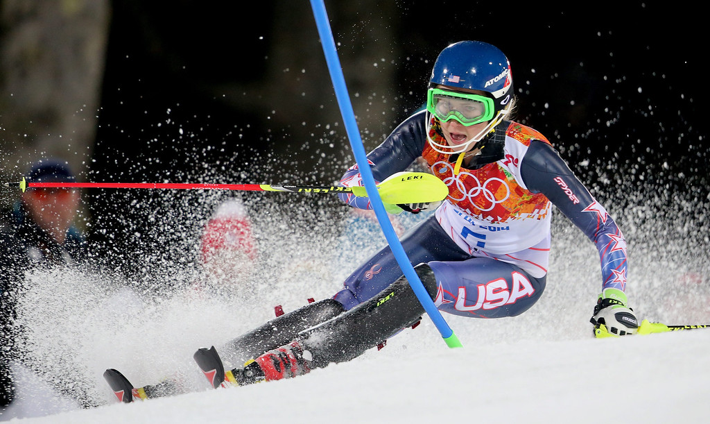 Description of . Mikaela Shiffrin of the USA in action  during the second run of the Women's Slalom race at the Rosa Khutor Alpine Center during the Sochi 2014 Olympic Games, Krasnaya Polyana, Russia, 21 February 2014.  EPA/KARL-JOSEF HILDENBRAND