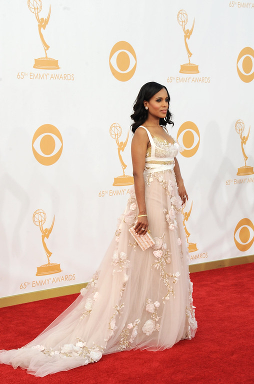 Description of . Kerry Washington, wearing Marchesa, arrives at the 65th Primetime Emmy Awards at Nokia Theatre on Sunday Sept. 22, 2013, in Los Angeles.  (Photo by Jordan Strauss/Invision/AP)