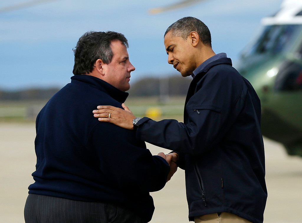Description of . In this Oct. 31, 2012 file photo, President Barack Obama is greeted by New Jersey Gov. Chris Christie upon his arrival at Atlantic City International Airport in Atlantic City, NJ. Obama traveled to the region to take an aerial tour of the Atlantic Coast in New Jersey in areas damaged by superstorm Sandy.  (AP Photo/Pablo Martinez Monsivais, File)