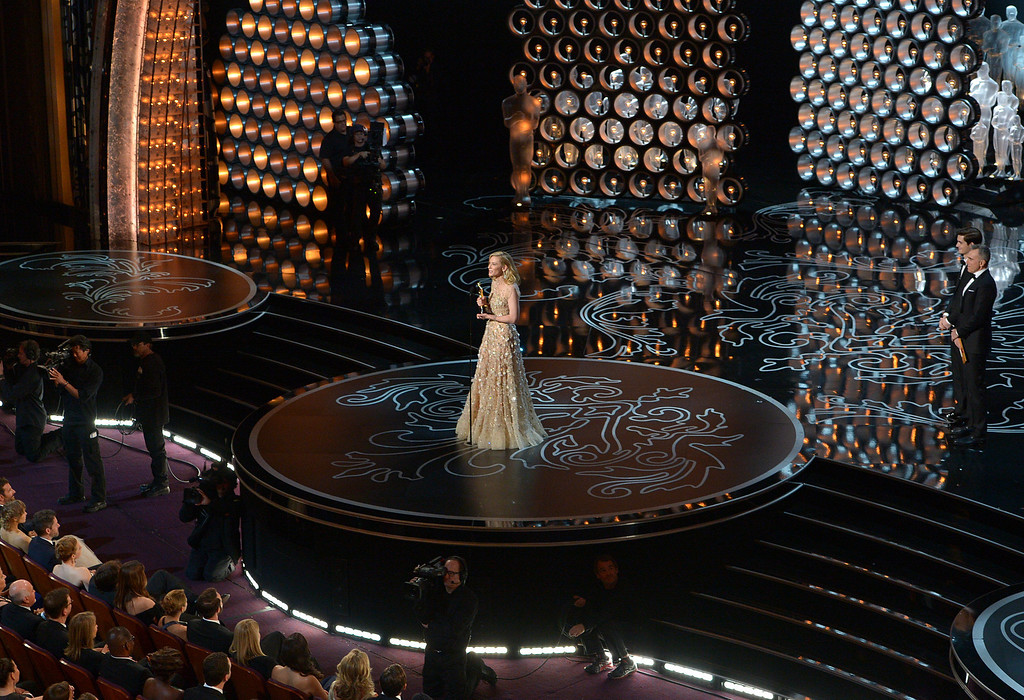 Description of . Cate Blanchett accepts the award for best actress in a leading role for