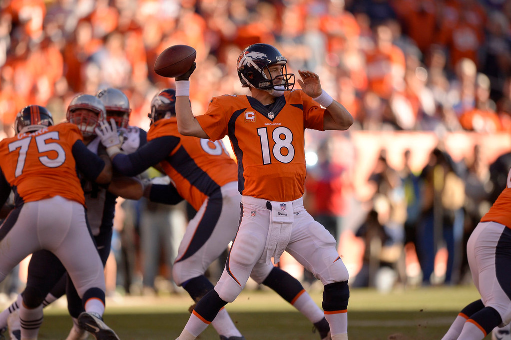 Description of . Denver Broncos quarterback Peyton Manning (18) throws during the third quarter. The Denver Broncos vs. The New England Patriots in an AFC Championship game  at Sports Authority Field at Mile High in Denver on January 19, 2014. (Photo by John Leyba/The Denver Post)