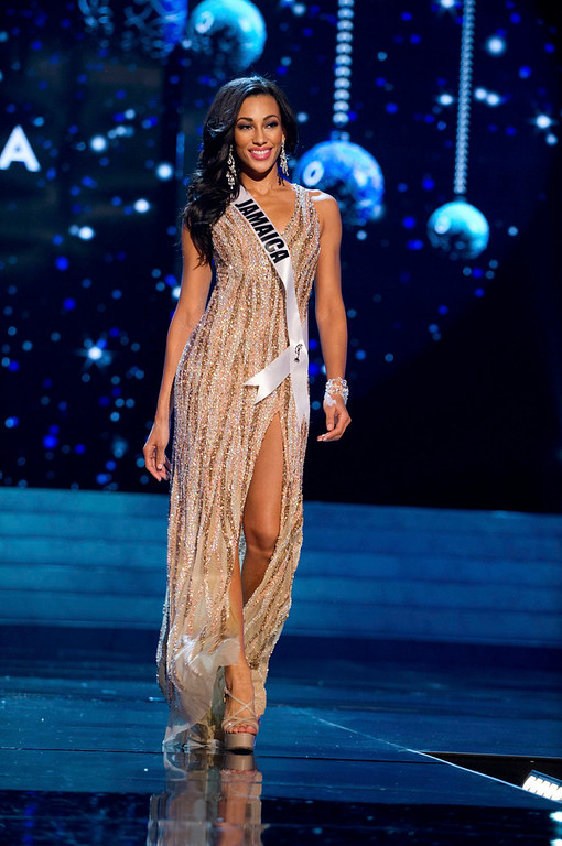 Description of . Miss Jamaica 2012 Chantal Zaky competes in an evening gown of her choice during the Evening Gown Competition of the 2012 Miss Universe Presentation Show in Las Vegas, Nevada, December 13, 2012. The Miss Universe 2012 pageant will be held on December 19 at the Planet Hollywood Resort and Casino in Las Vegas. REUTERS/Darren Decker/Miss Universe Organization L.P/Handout