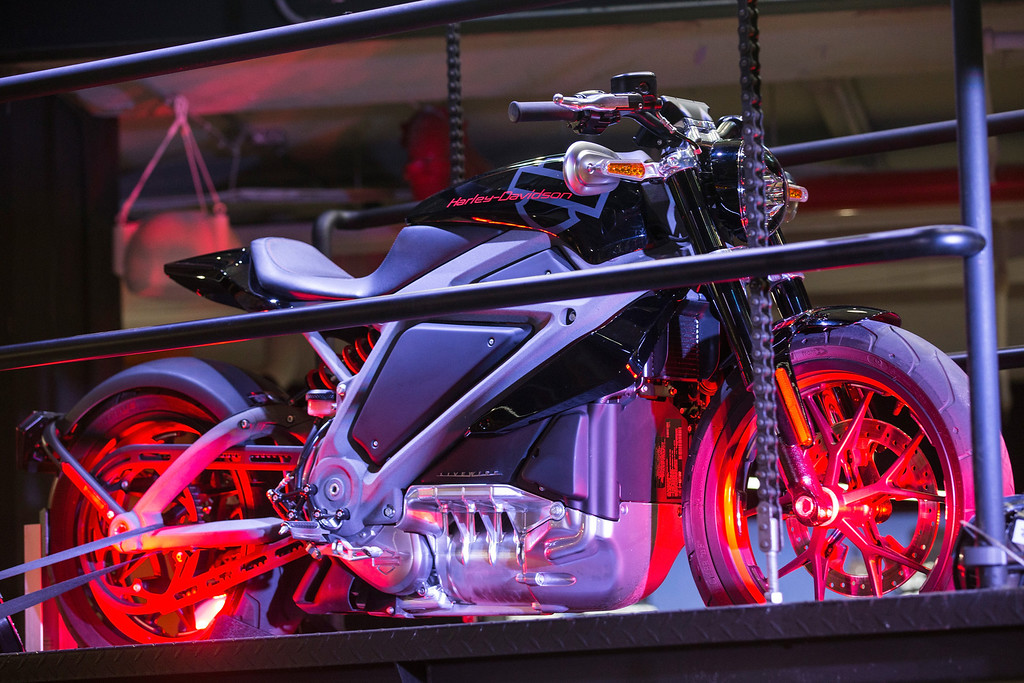 Description of . A Harley Davidson Livewire motorcycle, Harley Davidson's first electric bike, sits on display inside the Harley Davidson Store on June 23, 2014 in New York City. The Livewire has 74 horsepower and a top speed of 92 miles per hour.  (Photo by Andrew Burton/Getty Images)