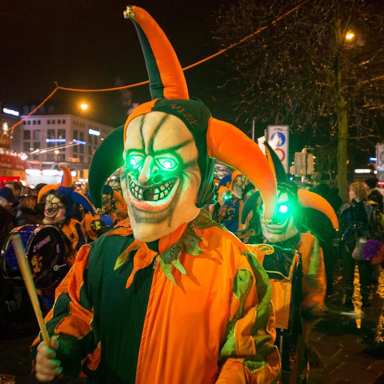 Description of . Revelers celebrate the start of the carnival session in Lucerne, Switzerland, early morning 27 February 2014.  EPA/SIGI TISCHLER