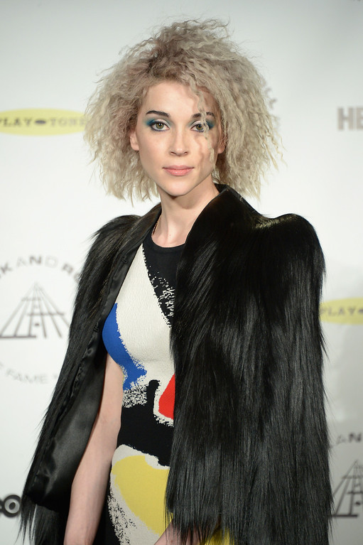 Description of . Musican St. Vincent attends the 29th Annual Rock And Roll Hall Of Fame Induction Ceremony at Barclays Center of Brooklyn on April 10, 2014 in New York City.  (Photo by Michael Loccisano/Getty Images)