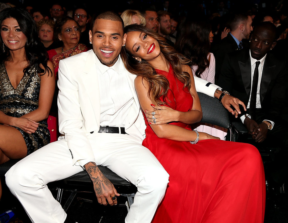 Description of . Chris Brown and Rihanna attend the 55th Annual GRAMMY Awards at STAPLES Center on February 10, 2013 in Los Angeles, California.  (Photo by Christopher Polk/Getty Images for NARAS)