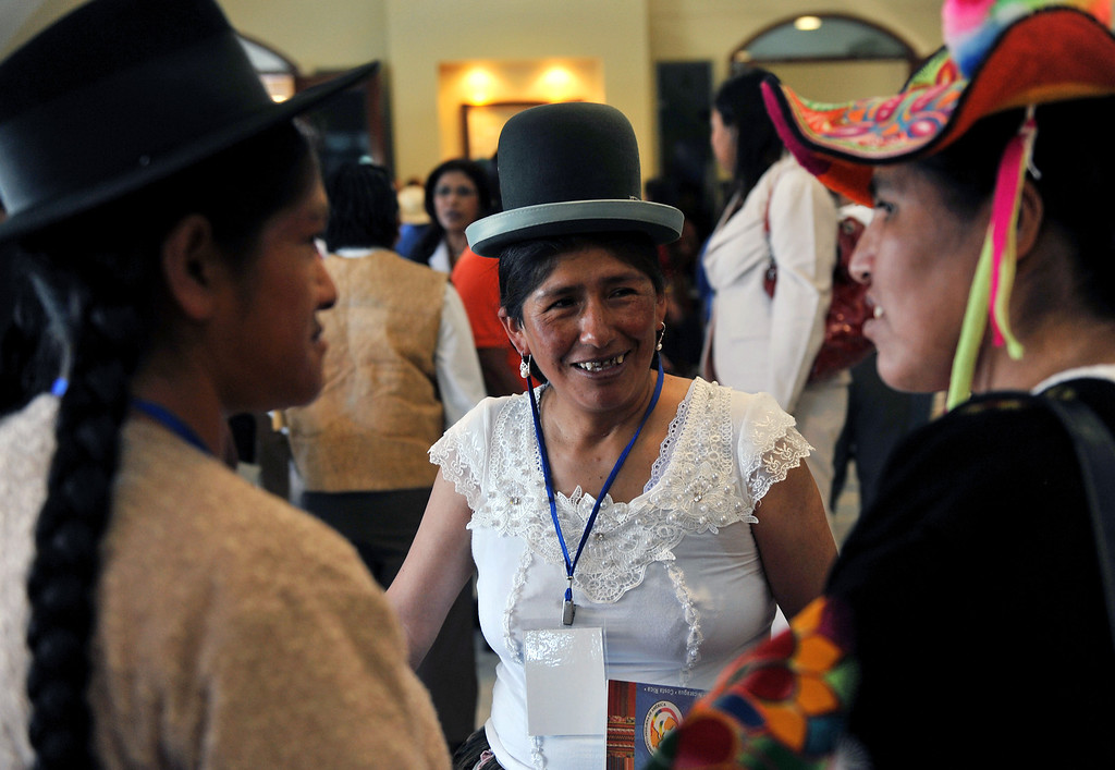. Bolivian deputy Patricia Mancilla (C), participates in the XIII Session of the Indigenous Parliament of America (PIA in Spanish) --which deals with food security issues-- in Managua, on April 8, 2013.  HECTOR RETAMAL/AFP/Getty Images