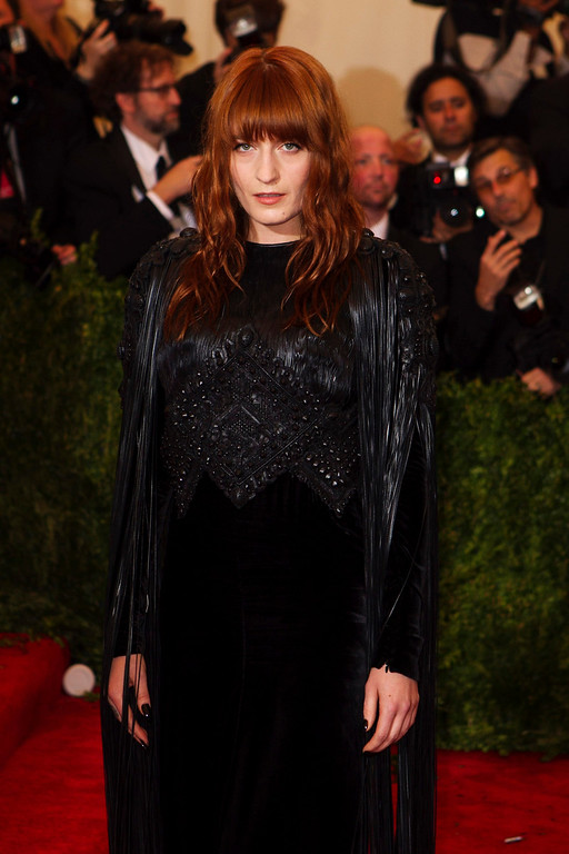 Description of . Singer Florence Welch arrives at the Metropolitan Museum of Art Costume Institute Benefit celebrating the opening of