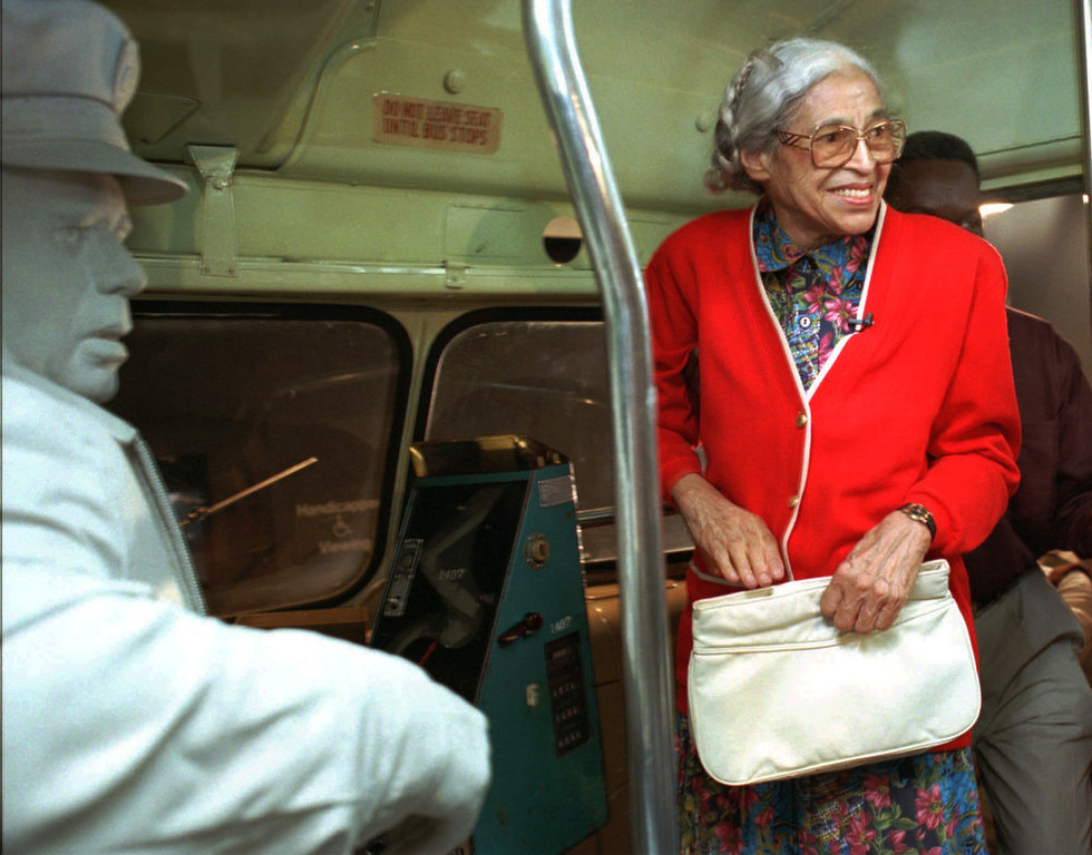 Description of . Rosa Parks visits an exhibit illustrating her bus ride of December, 1955 at the National Civil Rights Museum in Memphis, Tenn., Saturday, July 15, 1995.  Parks visited around the city to inaugurate her three-week