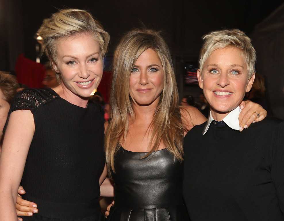 Description of . (L-R) Actors Portia de Rossi and Jennifer Aniston and tv personality Ellen DeGeneres attend the 39th Annual People\'s Choice Awards at Nokia Theatre L.A. Live on January 9, 2013 in Los Angeles, California.  (Photo by Christopher Polk/Getty Images for PCA)
