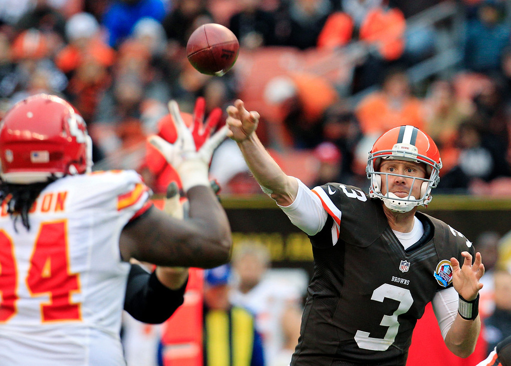 Description of . Cleveland Browns quarterback Brandon Weeden (3) passes against the Kansas City Chiefs in the third quarter of an NFL football game, Sunday, Dec. 9, 2012, in Cleveland. (AP Photo/Tony Dejak)