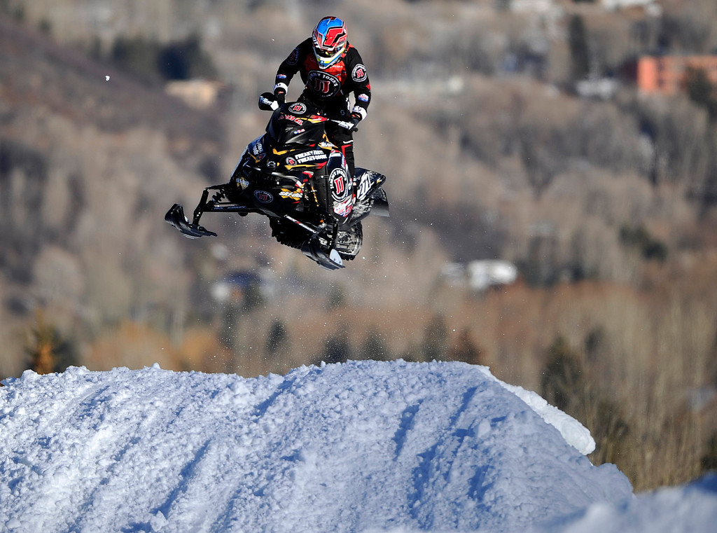 Description of . ASPEN, CO - January 27: Peter Narsa, of Moskosel, Sweden, races during the snowmobile SnoCross event at Winter X Games Aspen 2013 at Buttermilk Mountain on Jan. 27, 2013, in Aspen, Colorado. Narsa finished fifth overall. (Photo by Daniel Petty/The Denver Post)