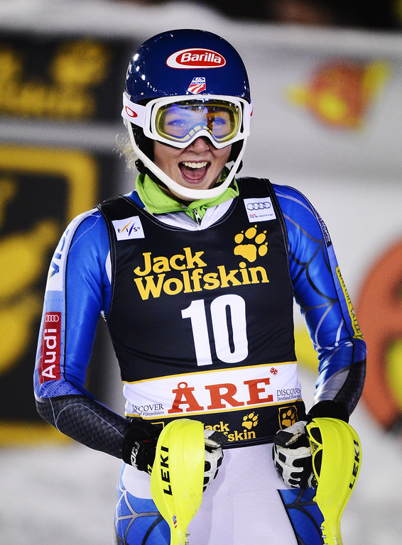 Description of . US' Mikaela Shiffrin reacts after crossing the finish line to win the FIS Alpine Ski World Cup women's slalom in Are, Sweden, on December 20, 2012. AFP PHOTO/JONATHAN  NACKSTRAND/AFP/Getty Images