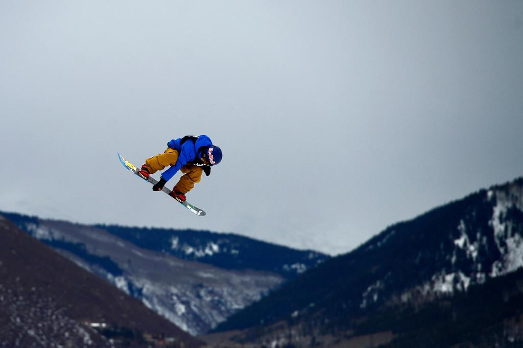 Description of . ASPEN, CO. - JANUARY 24: Roope Tonteri skies during the men's Snowboard Slopestyle elimination. Men's Snowboard Slopestyle elimination X Games Aspen Buttermilk Mountain Aspen January 24, 2013. (Photo By AAron Ontiveroz / The Denver Post)