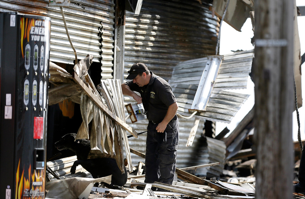 Description of . An investigator works with a dog while surveying the a charged area the morning after a massive fire burned a large portion of the Seaside Park boardwalk, Friday, Sept. 13, 2013, in Seaside Park, N.J.  (AP Photo/Julio Cortez)