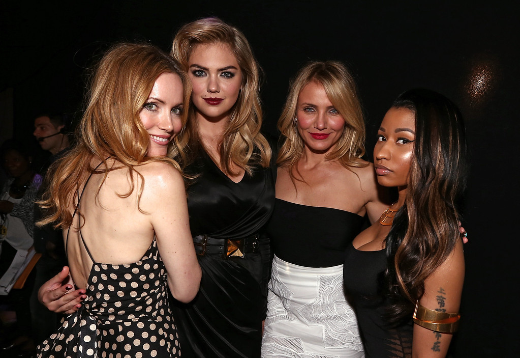Description of . (L-R) Actress Leslie Mann, model/actress Kate Upton, actress Cameron Diaz, and recording artist Nicki Minaj attend the 2014 MTV Movie Awards at Nokia Theatre L.A. Live on April 13, 2014 in Los Angeles, California.  (Photo by Christopher Polk/Getty Images)