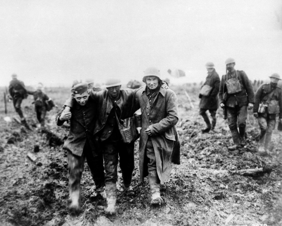 Description of . German's bringing in Canadian wounded at battle of Vimy, France in 1917. (AP Photo)