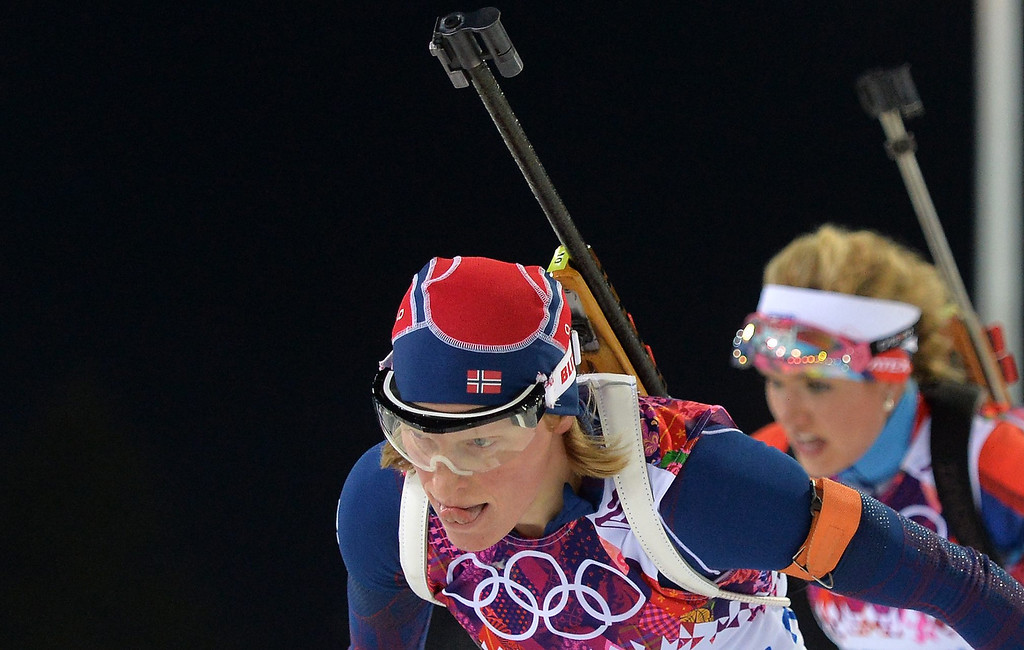 Description of . Tora Berger of Norway in action during the Women's 10km Pursuit competition at the Laura Cross Country Center during the Sochi 2014 Olympic Games, Krasnaya Polyana, Russia, on Feb. 11, 2014.  EPA/HENDRIK SCHMIDT