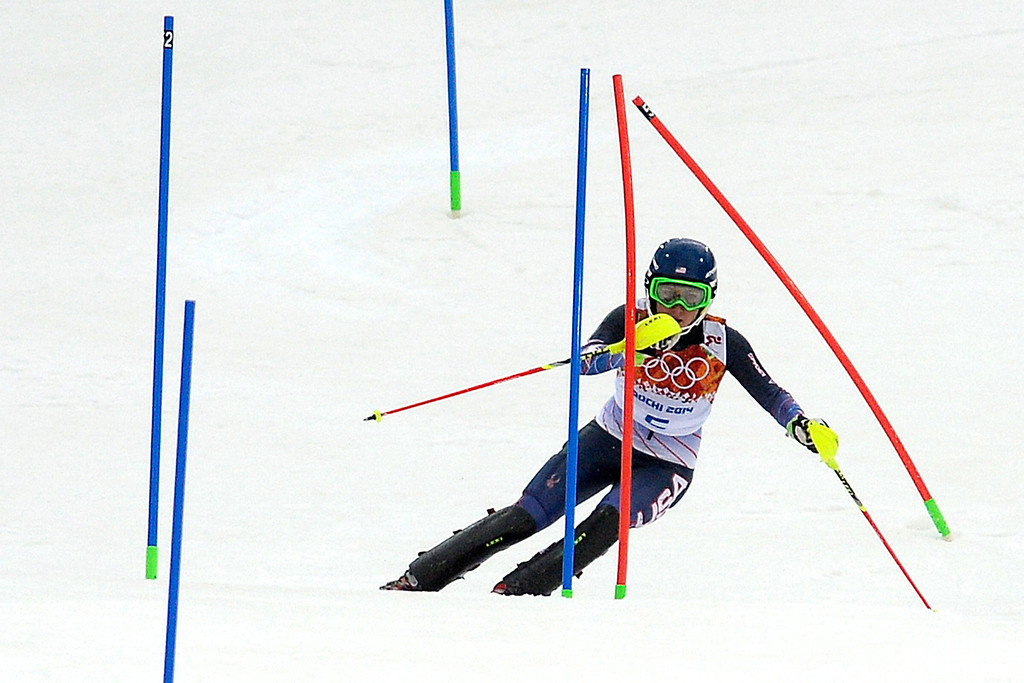 Description of . American Mikaela Shiffrin skis during ladies' giant slalom run 1. Sochi 2014 Winter Olympics on Friday, February 21, 2014 at Rosa Khutor Alpine Center. (Photo by AAron Ontiveroz/ The Denver Post)