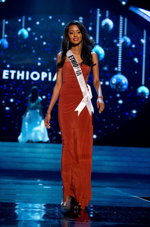 Description of . Miss Ethiopia 2012 Helen Getachew competes in an evening gown of her choice during the Evening Gown Competition of the 2012 Miss Universe Presentation Show in Las Vegas, Nevada, December 13, 2012. The Miss Universe 2012 pageant will be held on December 19 at the Planet Hollywood Resort and Casino in Las Vegas. REUTERS/Darren Decker/Miss Universe Organization L.P/Handout