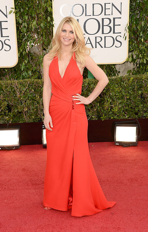 Description of . Actress Claire Danes arrives at the 70th Annual Golden Globe Awards held at The Beverly Hilton Hotel on January 13, 2013 in Beverly Hills, California.  (Photo by Jason Merritt/Getty Images)