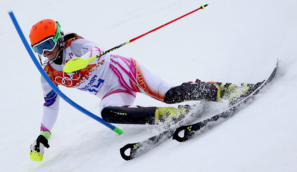 Description of . Marina Nigg of Liechtenstein in action during the first run of the Women's Slalom race at the Rosa Khutor Alpine Center during the Sochi 2014 Olympic Games, Krasnaya Polyana, Russia, 21 February 2014.  EPA/KARL-JOSEF HILDENBRAND