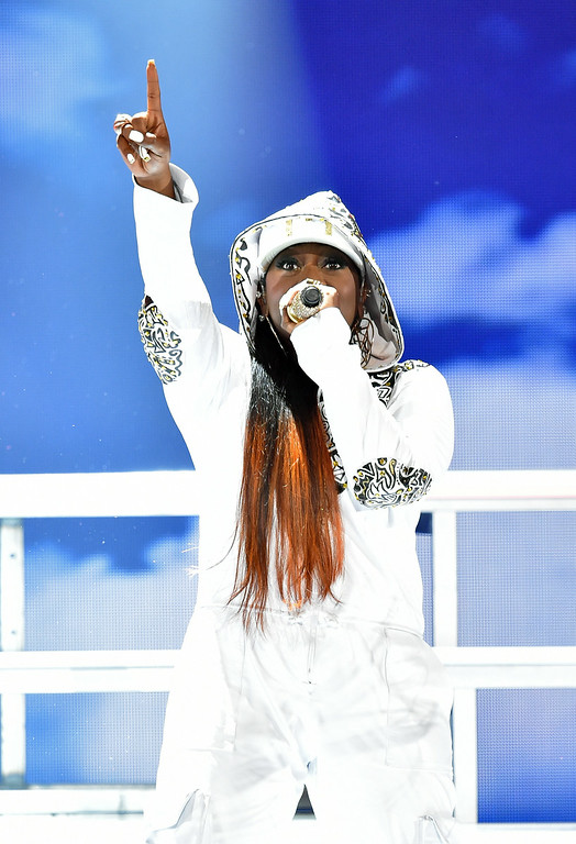 Description of . Rapper Missy Elliott performs onstage during the BET AWARDS '14 at Nokia Theatre L.A. LIVE on June 29, 2014 in Los Angeles, California.  (Photo by Kevin Winter/Getty Images for BET)