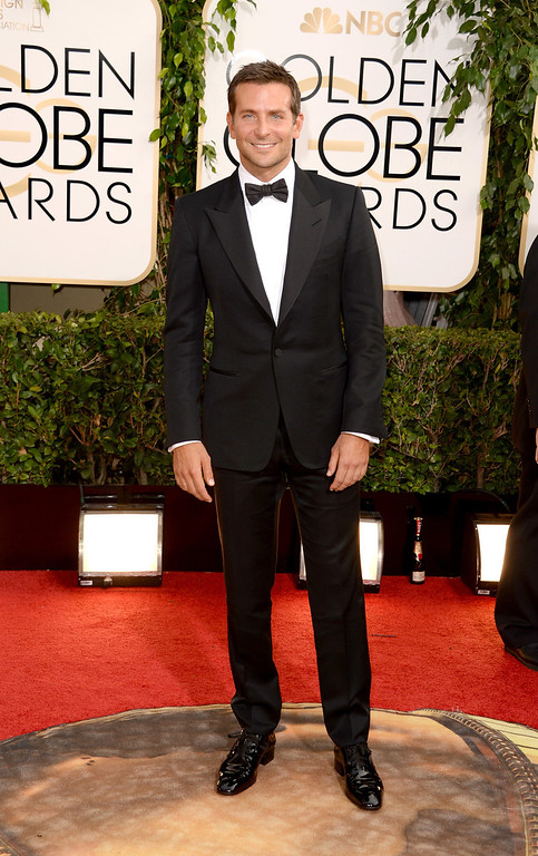 Description of . Actor Bradley Cooper attends the 71st Annual Golden Globe Awards held at The Beverly Hilton Hotel on January 12, 2014 in Beverly Hills, California.  (Photo by Jason Merritt/Getty Images)