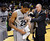 BOULDER, CO. - MARCH 7: Colorado coach Tad Boyle congratulated guard Spencer Dinwiddie after the win. The University of Colorado men's basketball team defeated Oregon 76-53 Thursday night, March 7, 2013 at the CU Events Center in Boulder. (Photo By Karl Gehring/The Denver Post)