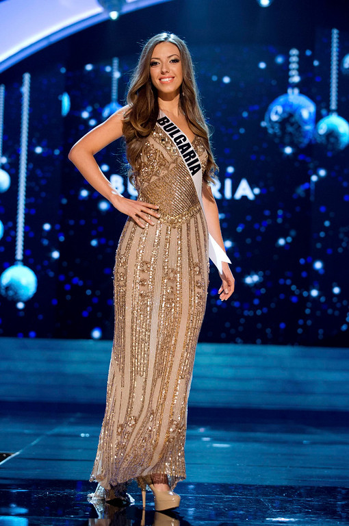 Description of . Miss Bulgaria Zhana Yaneva competes in an evening gown of her choice during the Evening Gown Competition of the 2012 Miss Universe Presentation Show at PH Live in Las Vegas, Nevada December 13, 2012. The 89 Miss Universe Contestants will compete for the Diamond Nexus Crown on December 19, 2012. REUTERS/Darren Decker/Miss Universe Organization/Handout