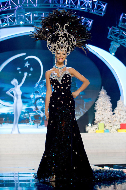 Description of . Miss Paraguay Egni Eckert performs onstage at the 2012 Miss Universe National Costume Show at PH Live in Las Vegas, Nevada December 14, 2012. The 89 Miss Universe Contestants will compete for the Diamond Nexus Crown on December 19, 2012. REUTERS/Darren Decker/Miss Universe Organization/Handout