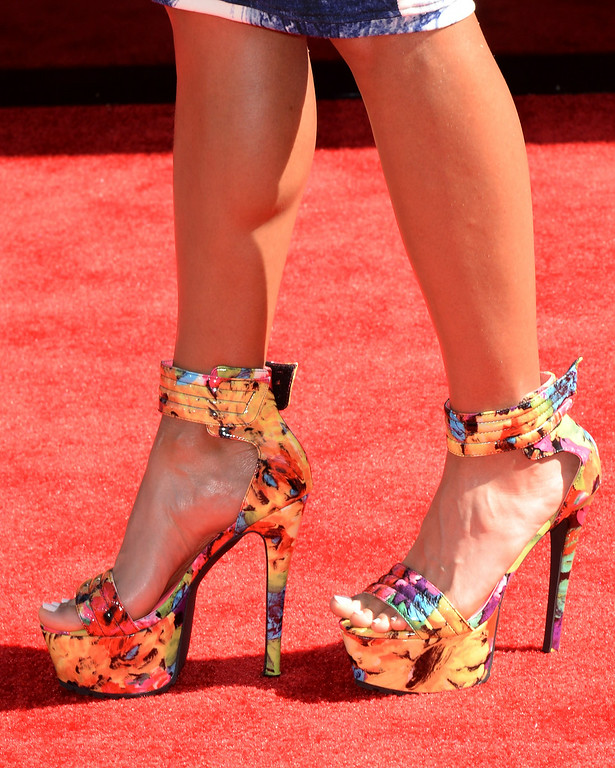 Description of . Athlete Lolo Jones (shoe detail) attends the BET AWARDS '14 at Nokia Theatre L.A. LIVE on June 29, 2014 in Los Angeles, California.  (Photo by Earl Gibson III/Getty Images for BET)
