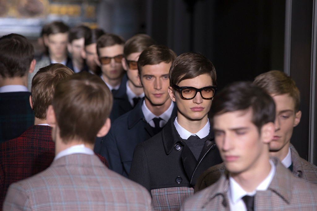 Description of . Models wear creations by fashion designers Maria Grazia Chiuri and Pier Paolo Piccioli for Valentino, as part of their presentation for the men's Spring Summer 2013 Haute Couture fashion collection presented in Paris, Wednesday, Jan. 16 2013. (AP Photo/ Jacques Brinon)