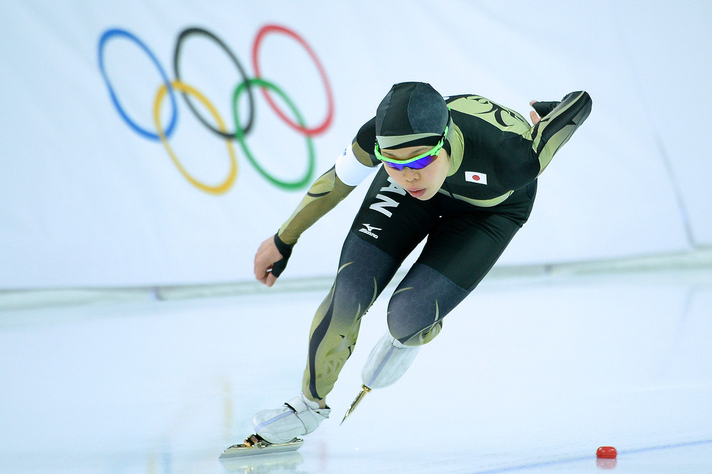 Description of . Japan\'s Miyako Sumiyoshi competes in the Women\'s Speed Skating 500 m at the Adler Arena during the 2014 Sochi Winter Olympics on February 11, 2014.  JUNG YEON-JE/AFP/Getty Images