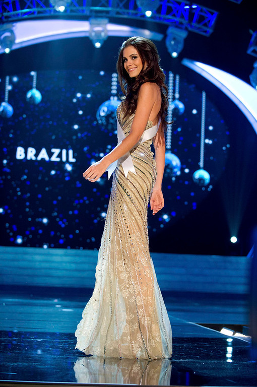 Description of . Miss Brazil 2012 Gabriela Markus competes in an evening gown of her choice during the Evening Gown Competition of the 2012 Miss Universe Presentation Show in Las Vegas, Nevada, December 13, 2012. The Miss Universe 2012 pageant will be held on December 19 at the Planet Hollywood Resort and Casino in Las Vegas. REUTERS/Darren Decker/Miss Universe Organization L.P/Handout