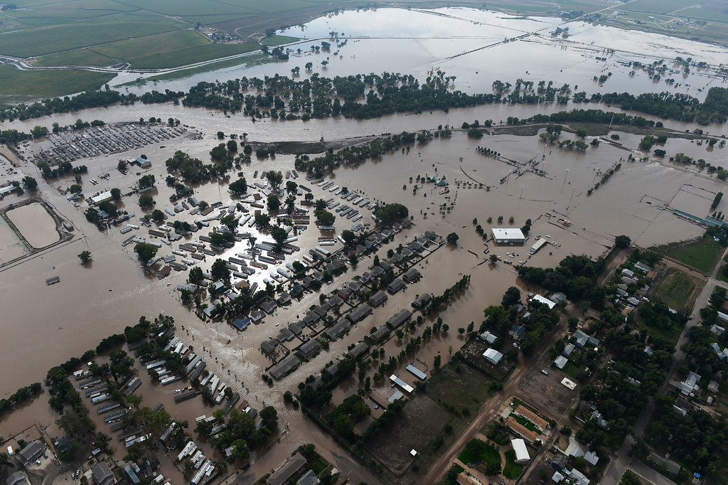 Description of . Flooded land in Weld County Colorado Saturday morning, September 14, 2103. (Photo By Andy Cross/The Denver Post)
