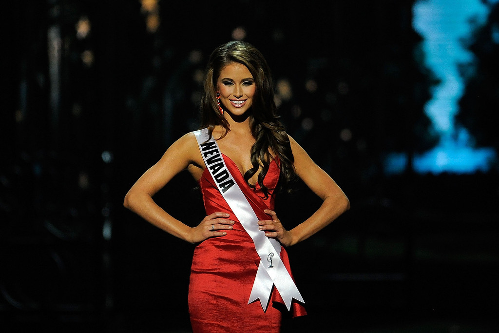 Description of . Miss Nevada USA Nia Sanchez competes in the 2014 Miss USA Competition at The Baton Rouge River Center on June 8, 2014 in Baton Rouge, Louisiana.  (Photo by Stacy Revere/Getty Images)