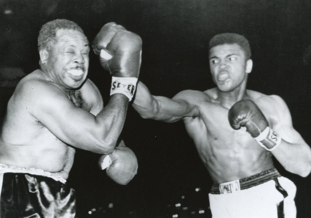 Description of . Archie Moore and Muhammad Ali . Denver Post Library photo archive