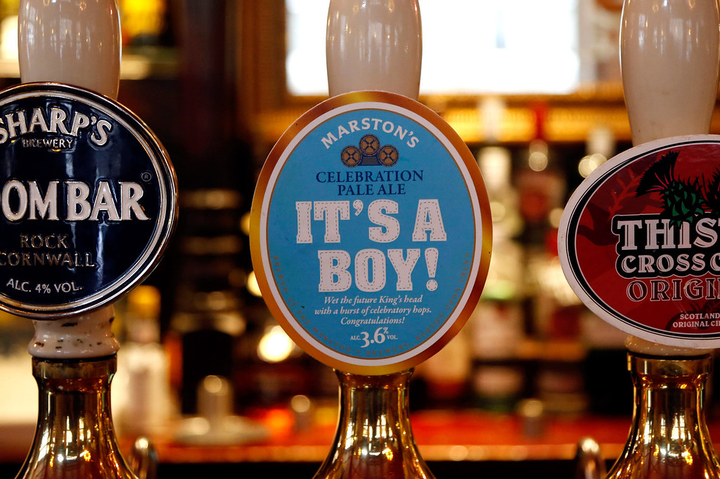Description of . A celebratory ale is sold in pub to mark the birth of the first born son of the Duke and Duchess of Cambridge on July 23, 2013 in London, England. Catherine, Duchess of Cambridge yesterday gave birth to a boy at 16.24 BST and weighing 8lb 6oz, with Prince William, Duke of Cambridge at her side. The baby, as yet unnamed, is third in line to the throne and becomes the Prince of Cambridge.  (Photo by Warrick Page/ Getty Images)