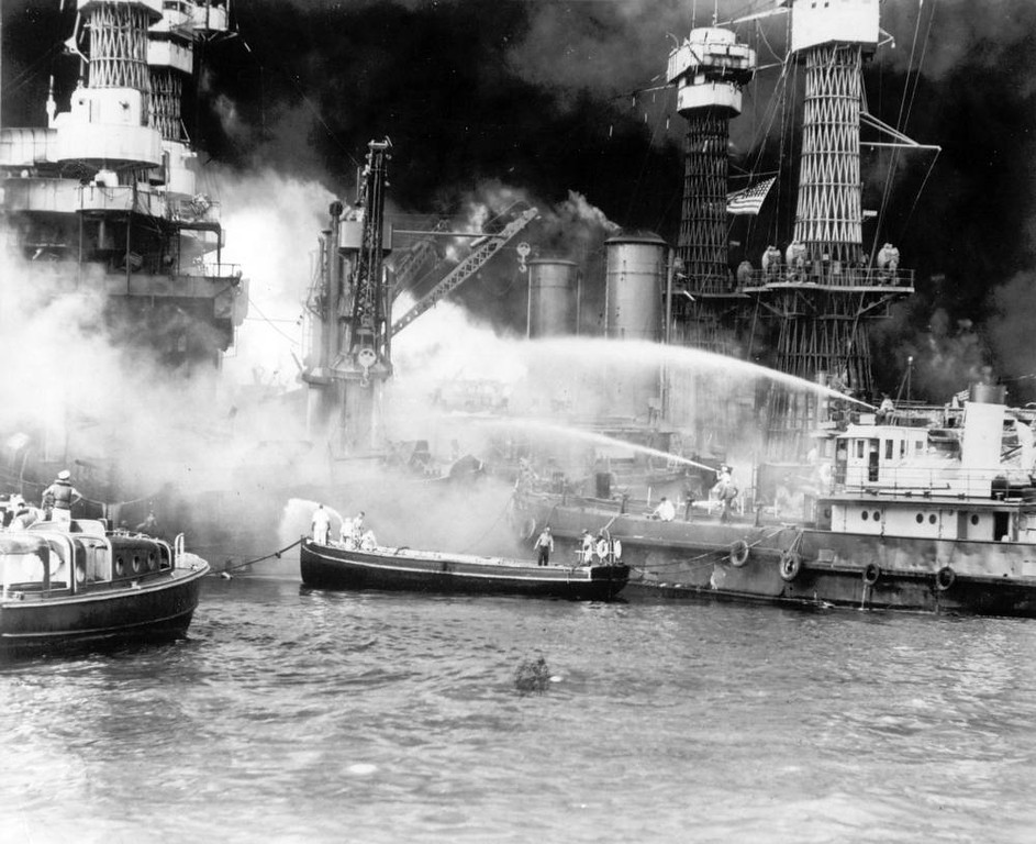 Description of . The battleship USS West Virginia is seen afire after the Japanese surprise attack on Pearl Harbor, Hawaii, on December 7, 1941. (AP Photo)