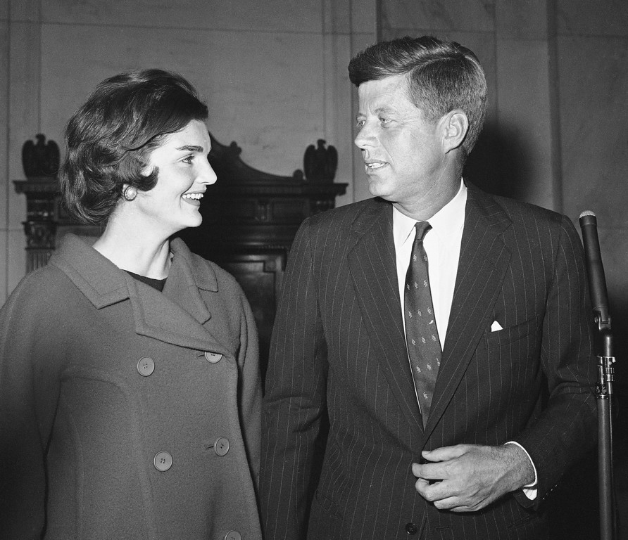 Description of . Sen. Kennedy and wife Jacqueline just after a Jan. 2, 1960, conference announcing his candidacy for the Democratic presidential nomination. Associated Press file